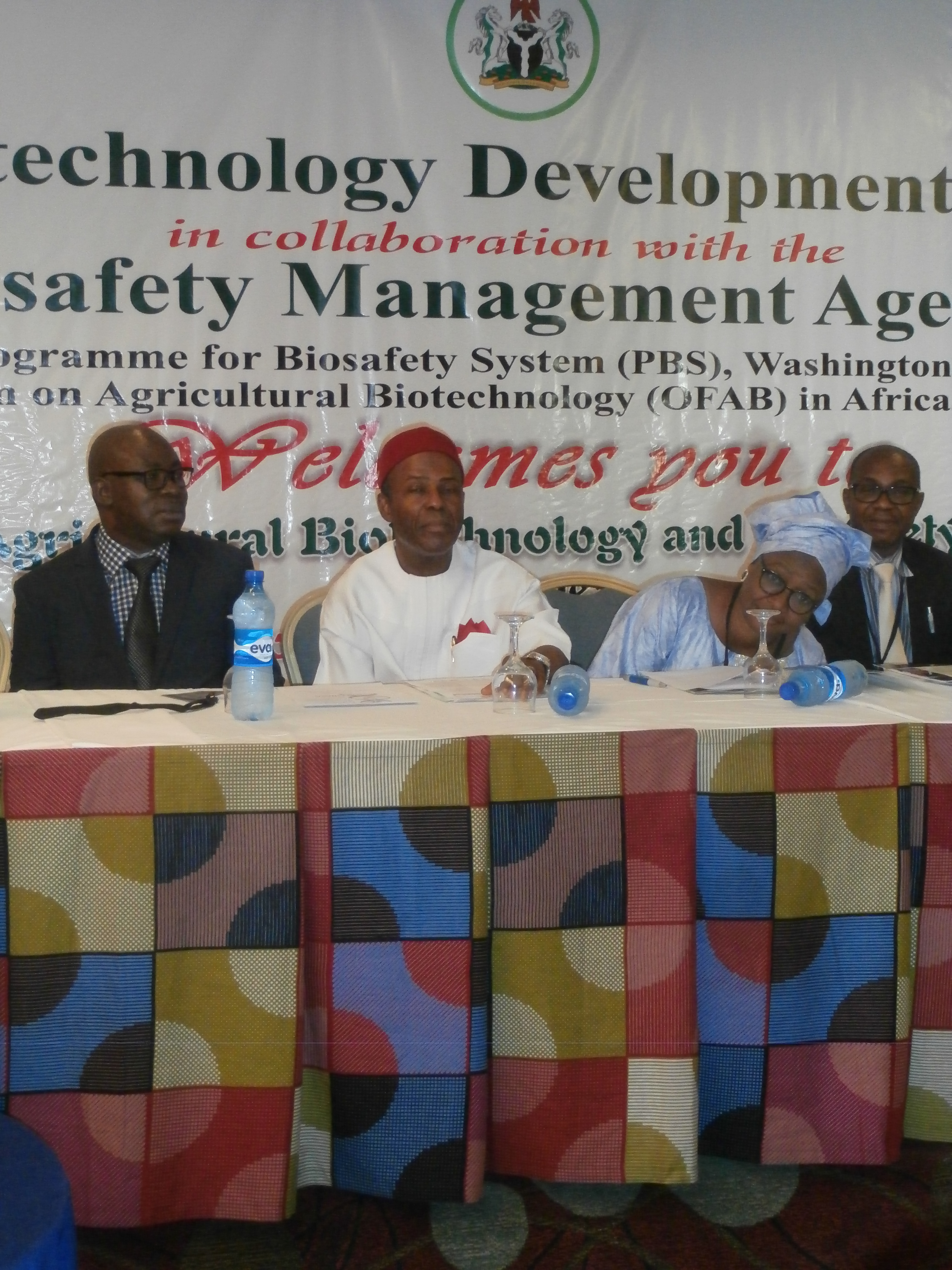 Chairman of the workshop; Dr. Ogbonnaya Onu, Hon Minister of Science and Technology flanked on the left by DG/CEO NABDA, Prof. Lucy Jumeyi Ogbadu and on the left by DG/CEO NBMA, Dr. Rufus Edegba NABMA.