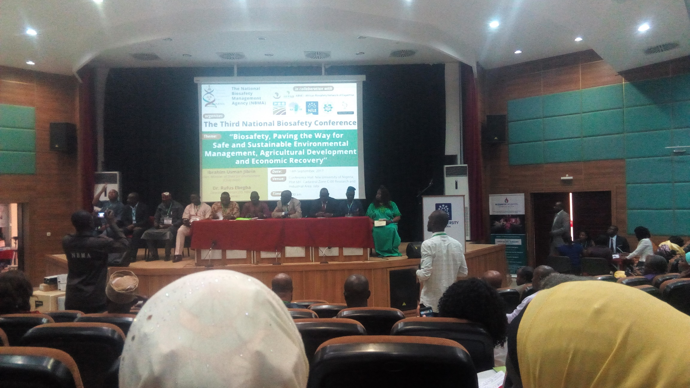 The conference panelists: Including Dr Rufus Ebegba (DG NBMA) , Prof Bamidele Solomon (for  NABDA DG) Prof. Diran Makinde, Dr. Godwin Uyi Ojo (environmental right action/friends of the earth nigeriaAlex Abut - Communications Officers PBS/NBM and Edel-Quinn Ijeoma Agbaegbu (Executive President EWHC)
