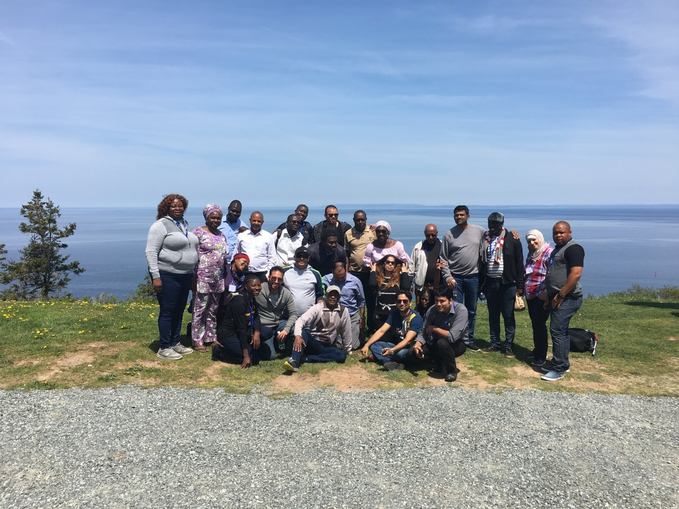 Participants on a field trip to the Aflantic Ocean at the end of Canada.